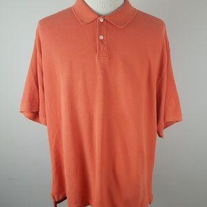 LL Bean Orange Short Sleeve Polo Shirt XXL Reg 2XL